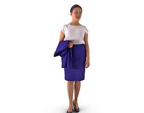 Asian Business Woman Standing 3D asset