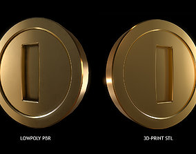 Gold Coin Game lowpoly PBR and Hipoly asset 3D model