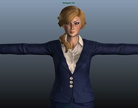 3D model Female Airhostess - Animated