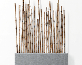 Planter with bamboo 3D model