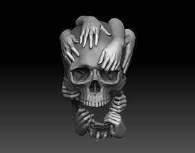 Skull and Hands Relief 3D print model cnc bone