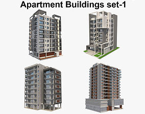 3D model Apartment Buildings Set 1
