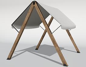 Textile wooden sunshade 3D