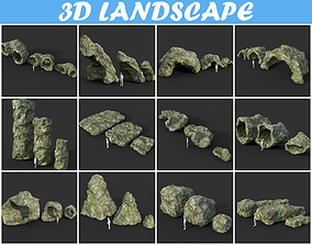 Low poly Cave Modular Mossy Rock Casual Package 3D