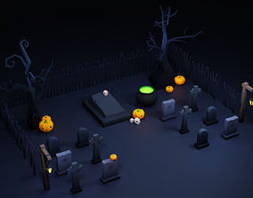 Halloween Low Poly Asset Pack 3D model