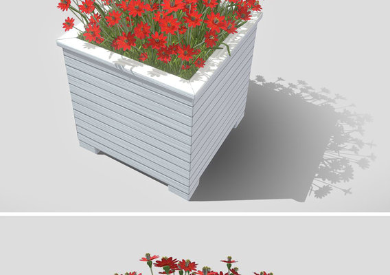 Public Plant Pot Wood-Version with Red Flowers