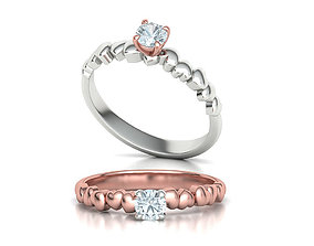 Solitaire Heart ring Promise ring 4mm Stone setting