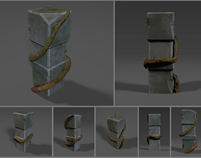3D model Low-poly stylized stone obelisk with root or vine