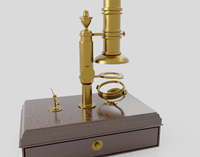 simple brass microscope ca 1800 3D model