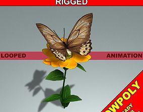 3D model VR / AR ready Animated Butterfly