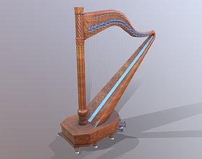 Low Poly Harp model 3D asset