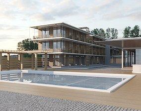 motel near sea resort 3D model
