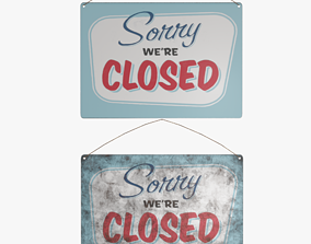 3D Vintage Closed Sign