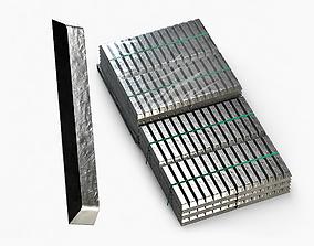 3D Aluminium Zinc Nickel Silver Titan Steel ingot 9