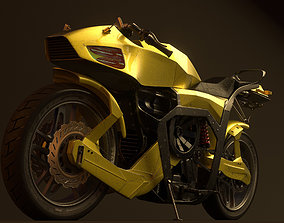Futuristic motorcycle 3D model rigged game-ready