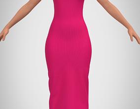 3D asset Pink Round neck lattice dress and cross-straps 2