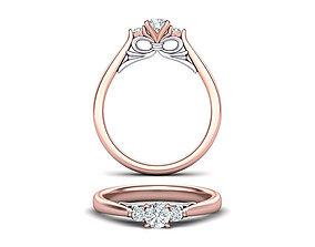 Bow Three Stone Engagement ring printable model