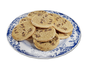 3D model Plate of Chocolate Chip Cookies