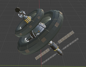 3D model spacestation low poly mesh
