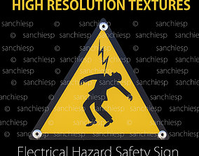 3D model Electrical hazard safety sign