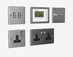 Power outlet and switches set 3D asset