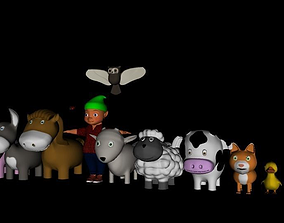 toon animals and gnome 3D model