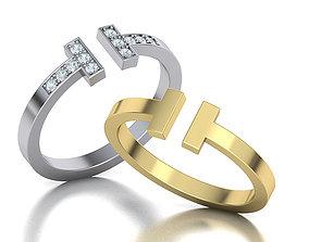 silver T ring tiffany printable 3dmodel