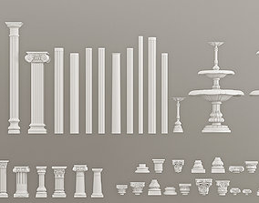 Columns Pedestals Decorative Gaudi Elements 3D