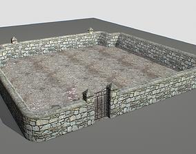 Stone wall pack 3 3D asset