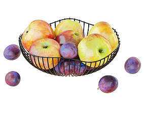 Apples and Plums in a Round Metal Vase 3D model