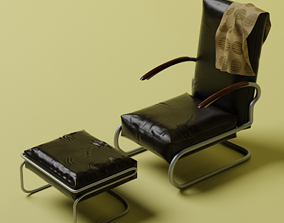 Leather chair with footstool 3D