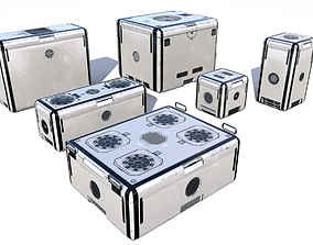 Sci Fi dirty white cargo crates 3D model