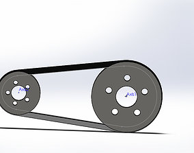 3D V-Belt and Pulley Assembly