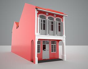 Shophouse Singapore Malaysia style 3D model