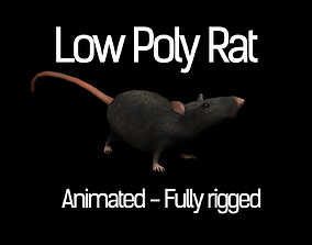 Low Poly Rat Model animated