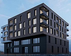 3D Modern residential building 8
