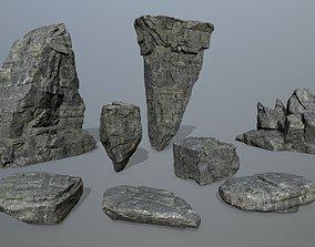 snowy 3D model realtime cliff rocks