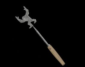 Barbeque Fork Long Extendable oak wood dark 3D asset