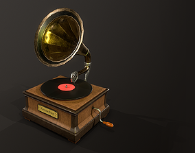 3D asset VR / AR ready PBR Gramophone