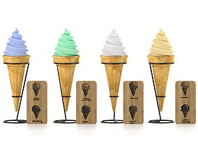 3D model Ice cream in waffle cone