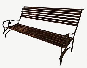 3D asset Low Poly Wooden Bench