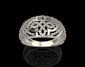 Diamond ring design cross 3D print model