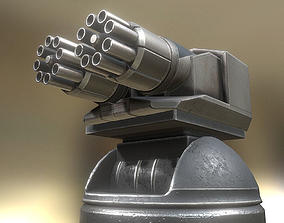 3D Futuristic Gatling Gun Tower Animated