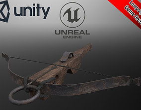 3D model Lowpoly animated medieval crossbow with bolt 1