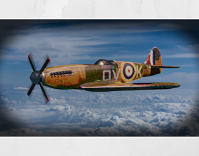 Spitfire 3D Model animated game-ready