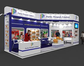 Exhibition stall 3d model 9x3 mtr 2sides open Purity 1