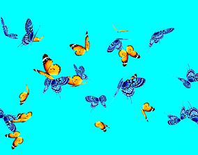 3D model beautiful butterflies