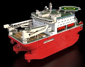 Ship 3d model - Offshore accommodation vessel animated