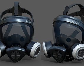 realtime Gas mask helmet 3d model military combat 1