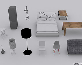 Low poly furniture pack No1 3D model